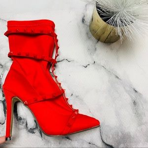 Red Studded Heeled Boots